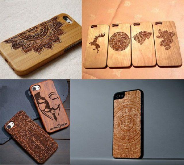 Khắc laser trên ốp lưng điện thoại bằng gỗ