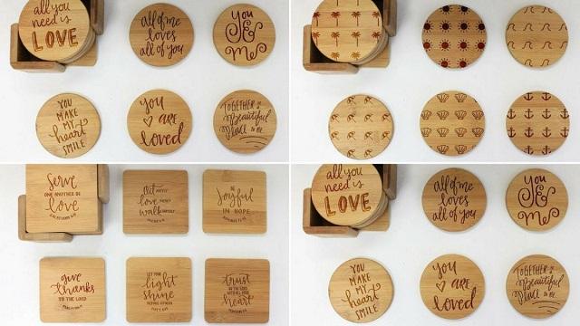 Khắc laser lên lót cốc gỗ, lót ly gỗ