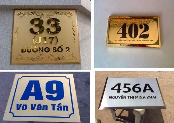 Biển số nhà bằng inox, kim loại, nhôm, đồng