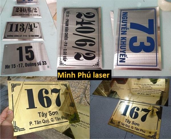Minh Phú laser giới thiệu tới bạn dịch vụ khắc laser bảng số nhà inox