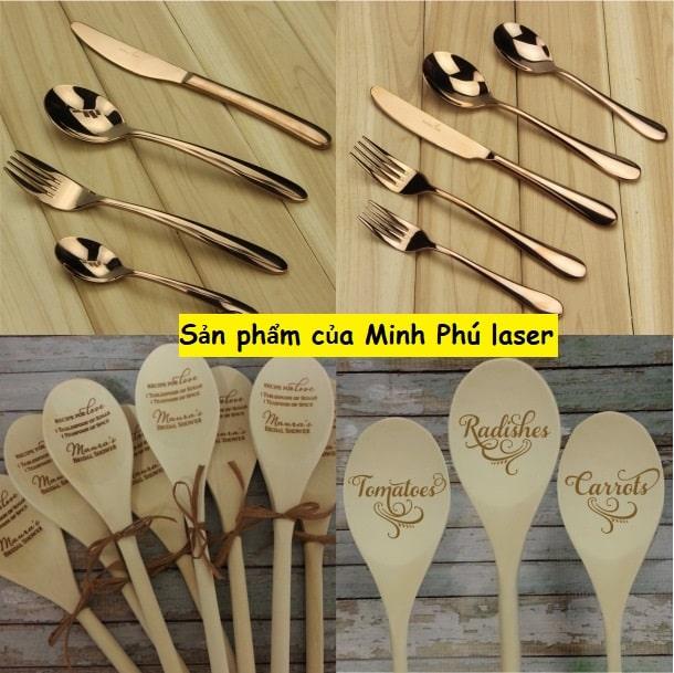 Một số mẫu sản phẩm khắc laser lên thìa, dĩa, muỗng, nĩa