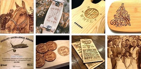 Sản phẩm khắc lên gỗ, in chữ lên gỗ hoặc cắt chữ bằng gỗ